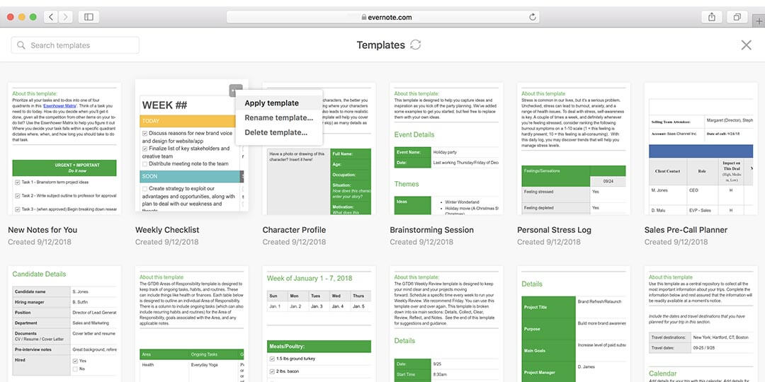evernote writing tools