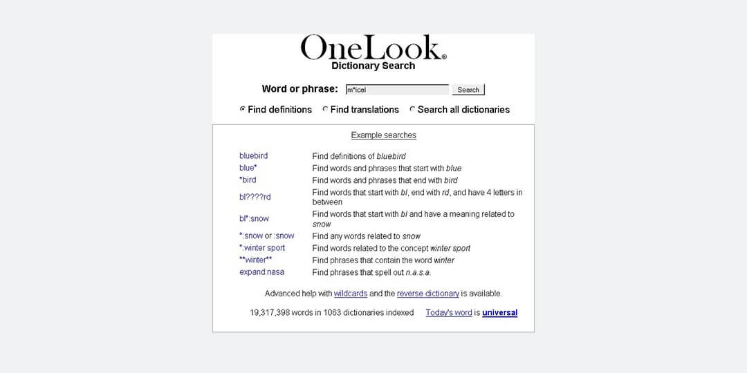 onelook writing tools