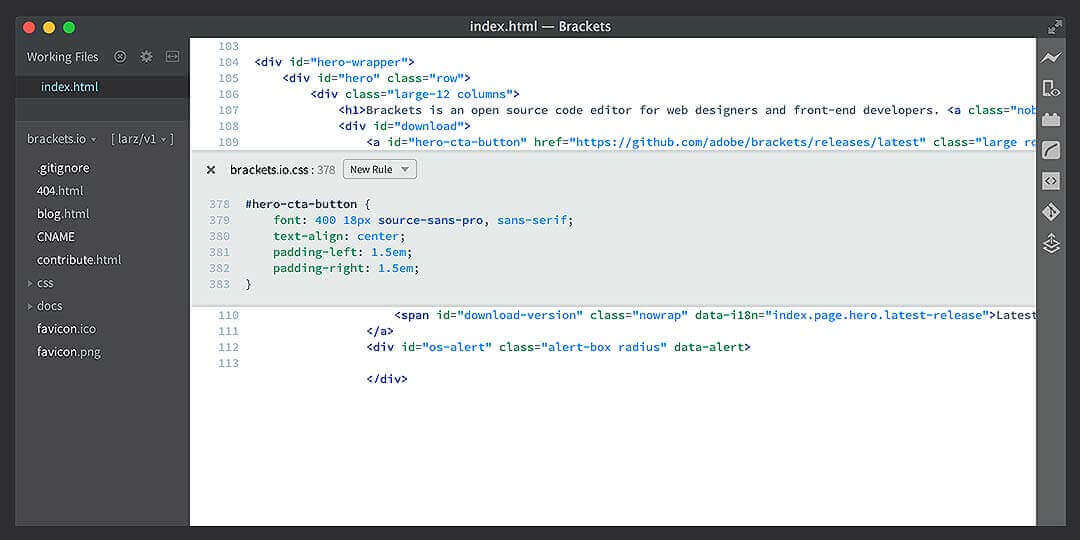 brackets best ide for css
