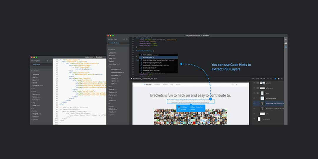 brackets ide for css