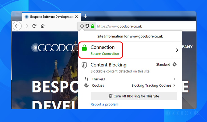 a screenshot of goodcore's ssl certificate