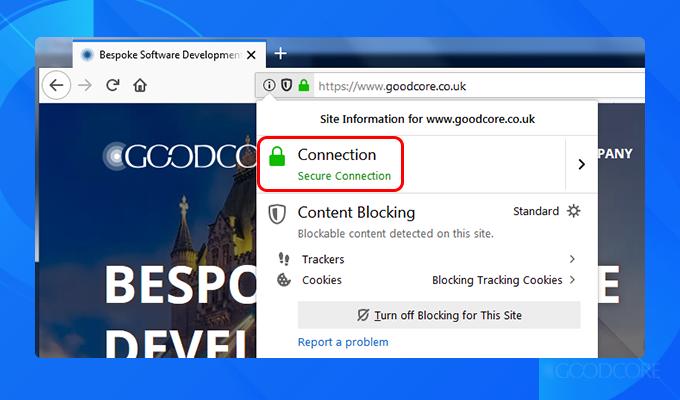 a screenshot of goodcore's ssl certificate