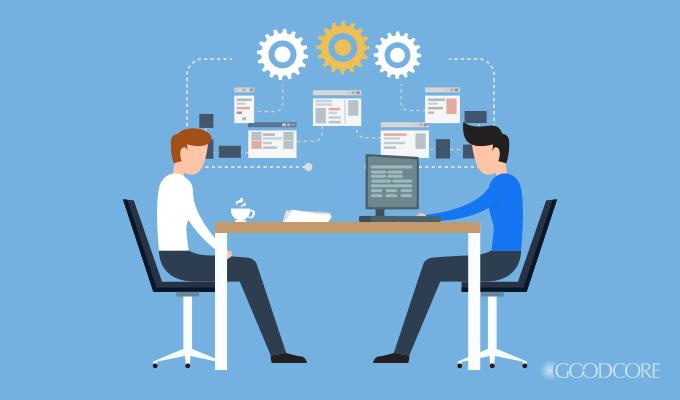 meeting between a client and a developer for custom software development
