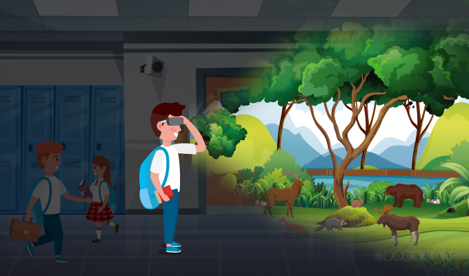 a student experiencing virtual forest