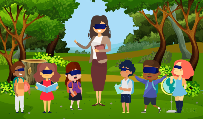 teacher and her students taking a trip in a virtual forest