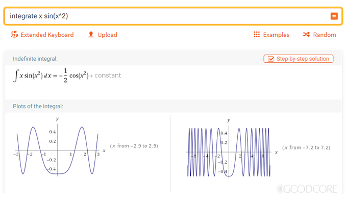 An example of mathematical equations and graphs displayed on a website. Courtesy WolframAlpha
