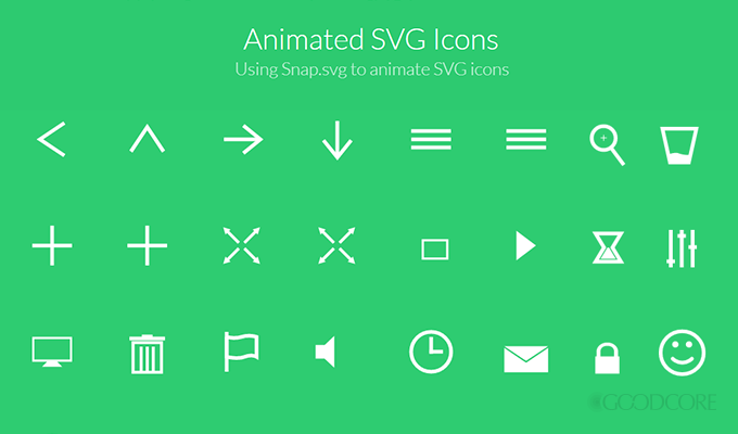 Some examples of simplistic SVG icons. Courtesy Codrops.