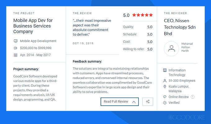 Nissen Technology Sdn Bhd reviews GoodCore Software