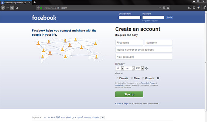 The front end of Facebook's home page