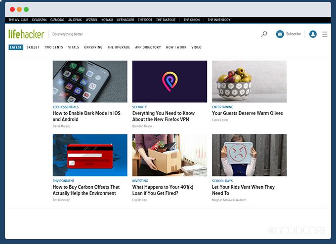example blog website