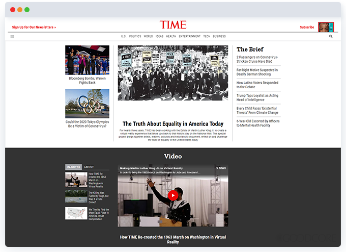 example news or magazine website