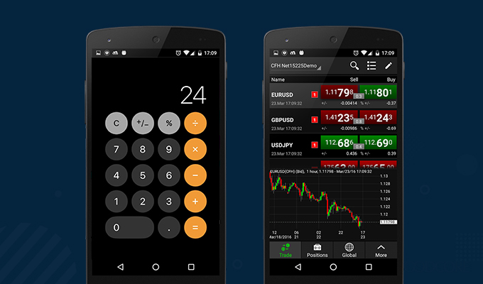 example calculator app vs stocking trading app