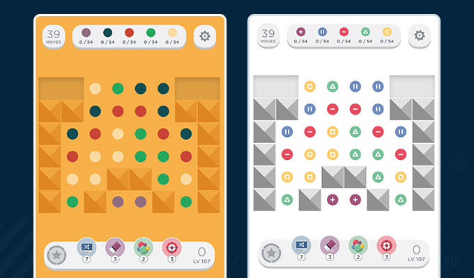 popular game two dots regular vs colourblind versions