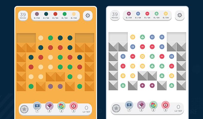 popular game two dots regular vs colourblind versions